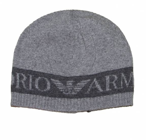 EA7 Emporio Armani Grey Wool Beanie Hat - Headwear from ... 748e9af4528