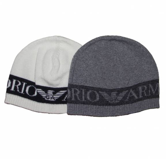 EA7 Emporio Armani Grey Wool Beanie Hat - Headwear from ... fa362731ebe