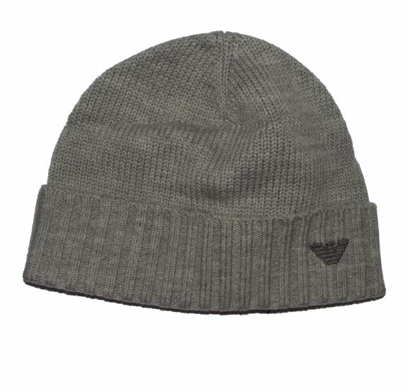 65e4dca84e8 EA7 Emporio Armani Grey Wool Beanie Hat with embroidered logo - Hats ...