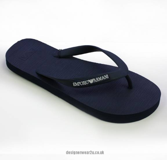 1c1ebf1188eead Emporio Armani Navy Mens Flip Flops - Holiday Shop from ...