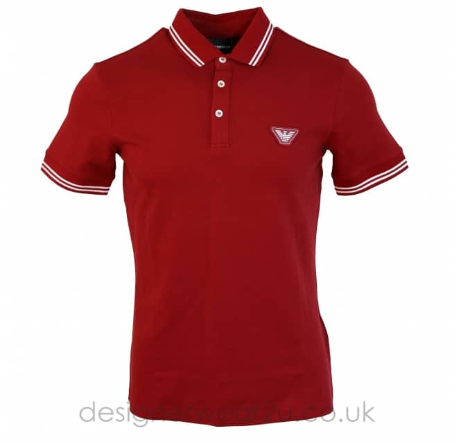 Emporio Armani Emporio Armani Polo Shirt with Larger Logo in Bordeaux