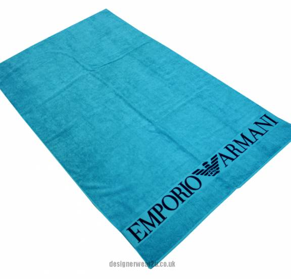 Armani Towels Online: Emporio Armani Turquoise Beach Towel