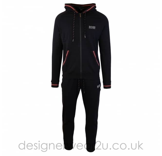 Hugo Boss Hugo Boss Black Hooded Tracksuit with Red Trim