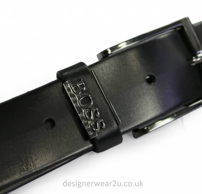 Hugo Boss Hugo Boss Black Leather Boss Logo Belt