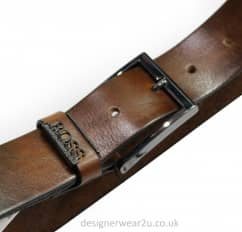 Hugo Boss Brown Leather Boss Logo Belt