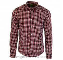 Hugo Boss Buster Red Long Sleeved Checked Shirt