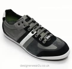 Hugo Boss Dark Grey Fabric & Suede Mix Akeen Trainers