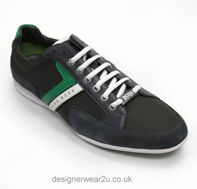 Hugo Boss Hugo Boss Dark Grey Leather & Suede Mix Spacit Trainers