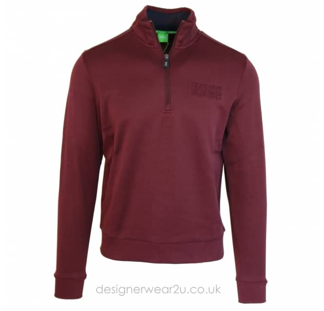 Hugo Boss Hugo Boss Half Zip Sweatshirt in Bordeaux