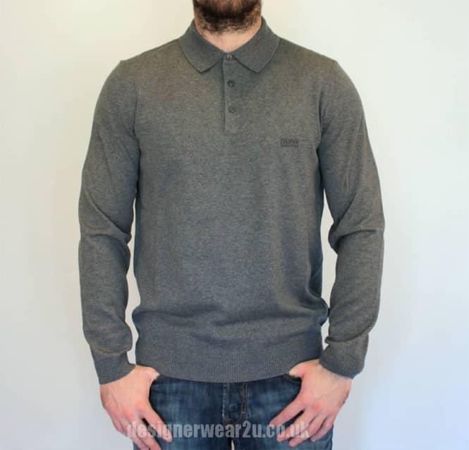 9db7f710e253 Hugo Boss Light Grey Wool Polo Style Jumper - Knitwear from ...