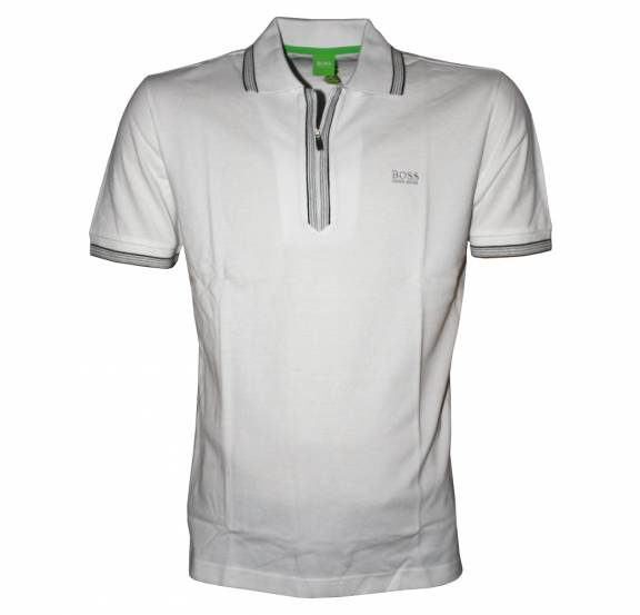ed8d85f9 Hugo Boss White Philson Half Zipper Polo Shirt - Polo Shirts from ...