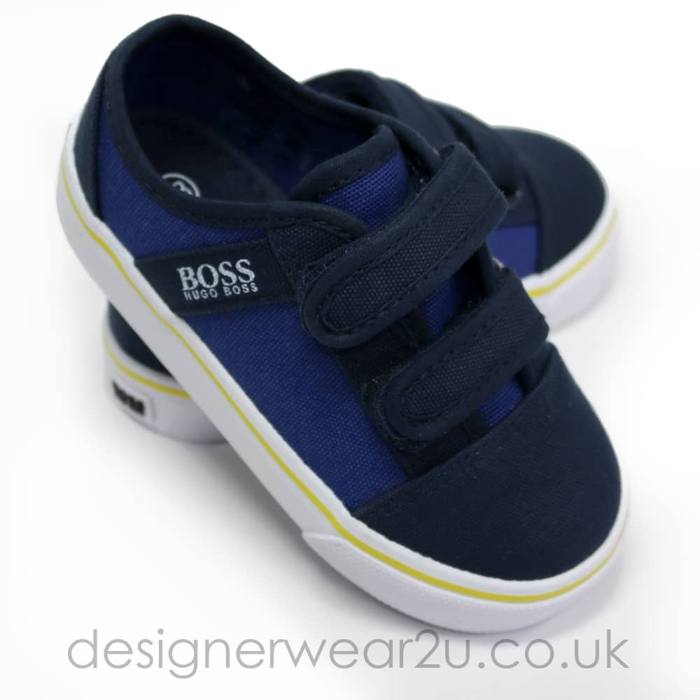 940b111b143e1 Hugo Boss Junior Hugo Boss Infant Trainers in Navy with Velcro ...