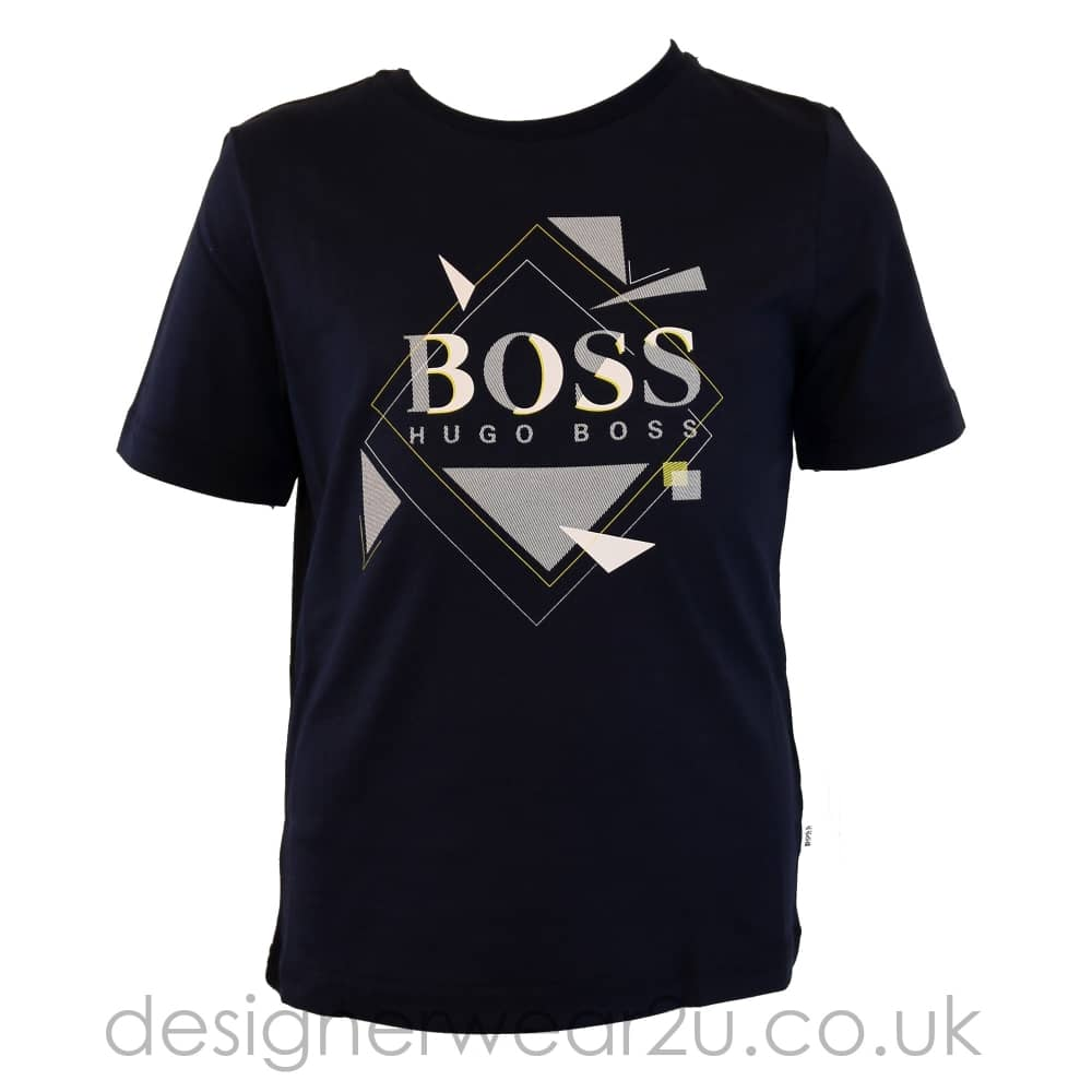 2bc0e587d Hugo Boss Junior Hugo Boss Kids Geometric Print T-Shirt in Navy ...