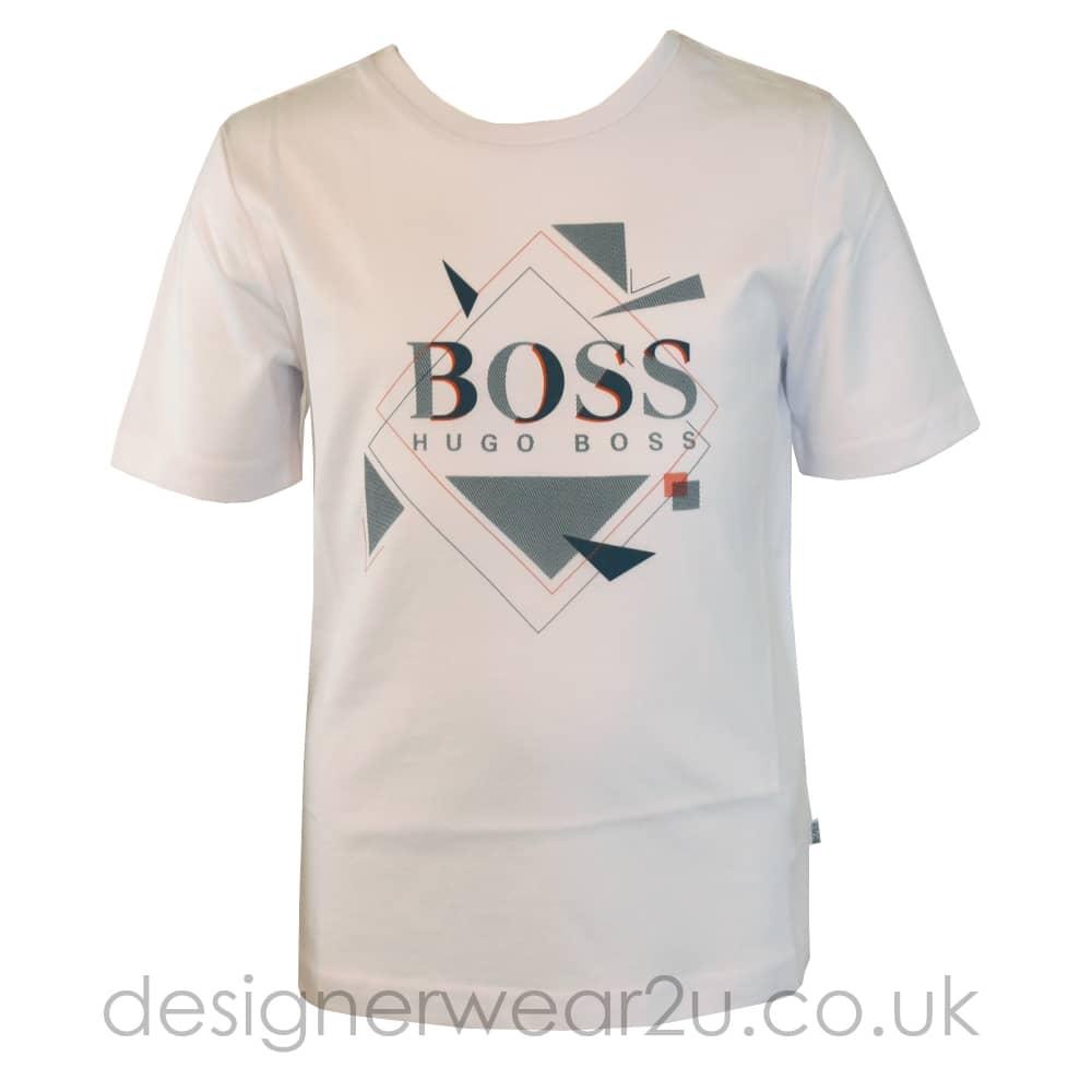 0118363c Hugo Boss Junior Hugo Boss Kids Geometric Print T-Shirt in White ...