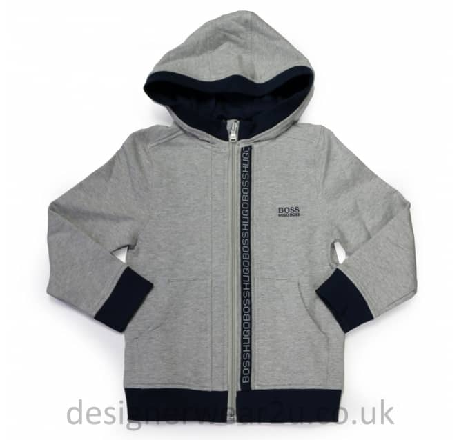 Hugo Boss Junior Hugo Boss Kids Hooded Sweatshirt in Grey