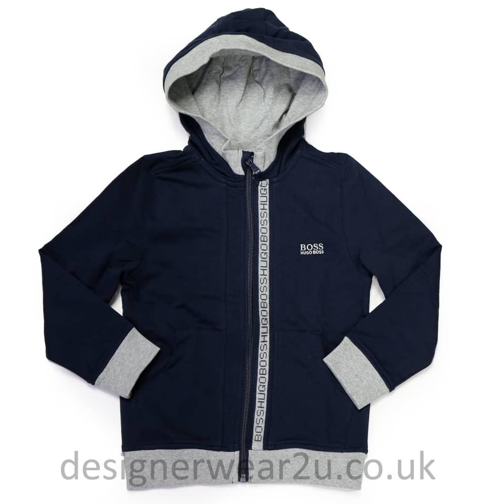 78f79f032fe00 Hugo Boss Junior Hugo Boss Kids Hooded Sweatshirt in Navy - Kids ...