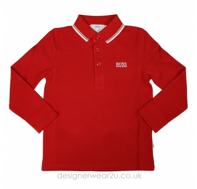 Hugo Boss Junior Hugo Boss Kids Long Sleeve Polo in Red
