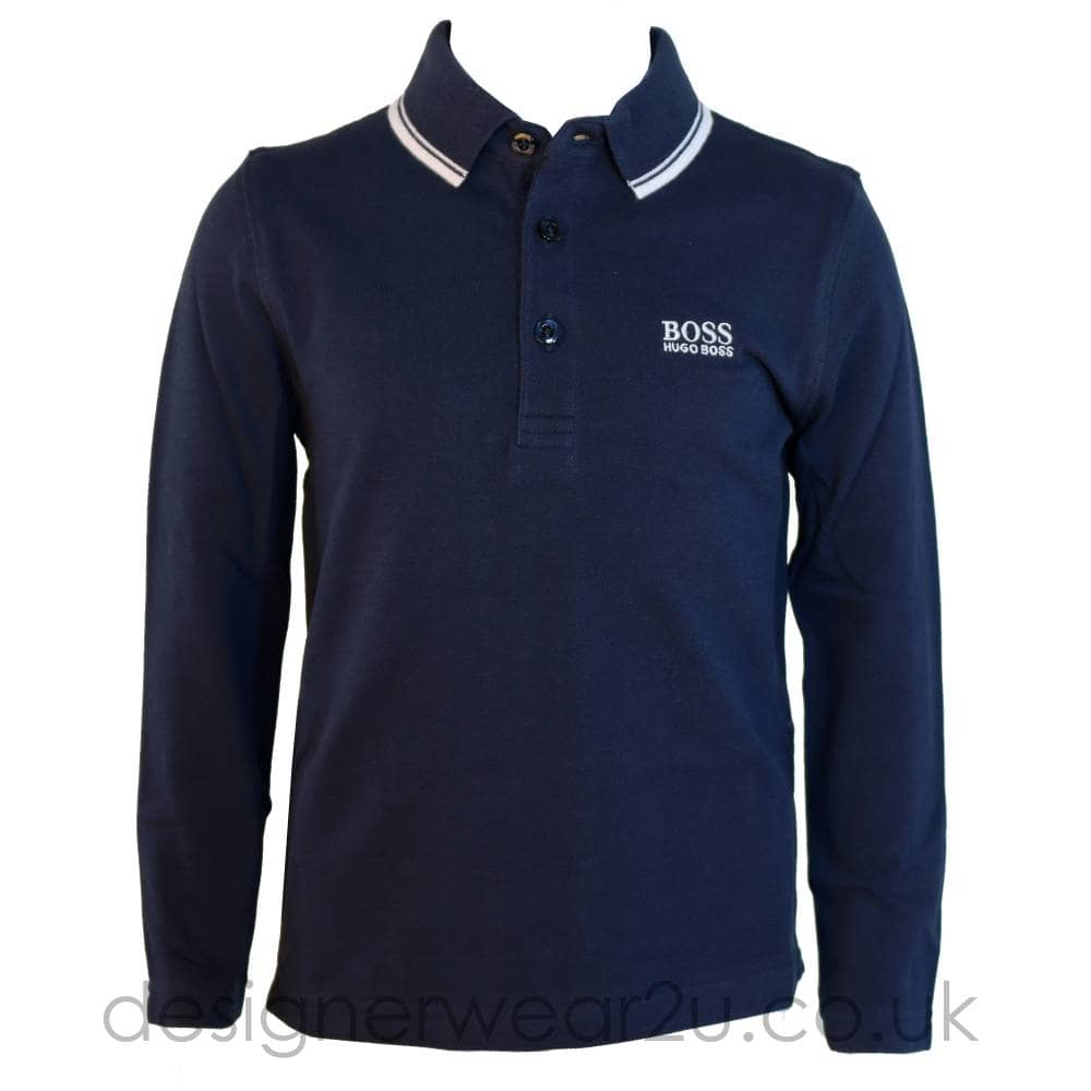 db0fad2a666 Hugo Boss Junior Hugo Boss Kids Long Sleeve Polo Shirt in Navy ...
