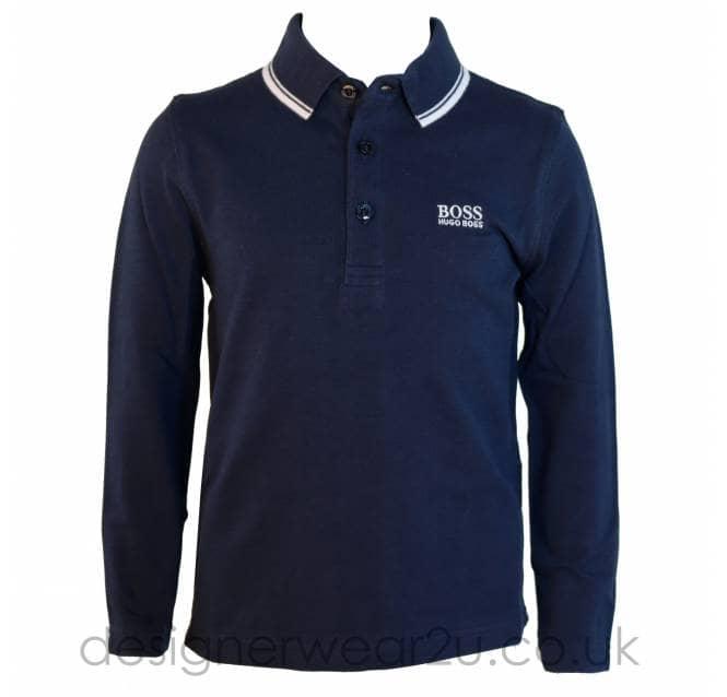 5c1da4ce1 Hugo Boss Junior Hugo Boss Kids Long Sleeve Polo Shirt in Navy - Kids  Collection from DesignerWear2U UK.