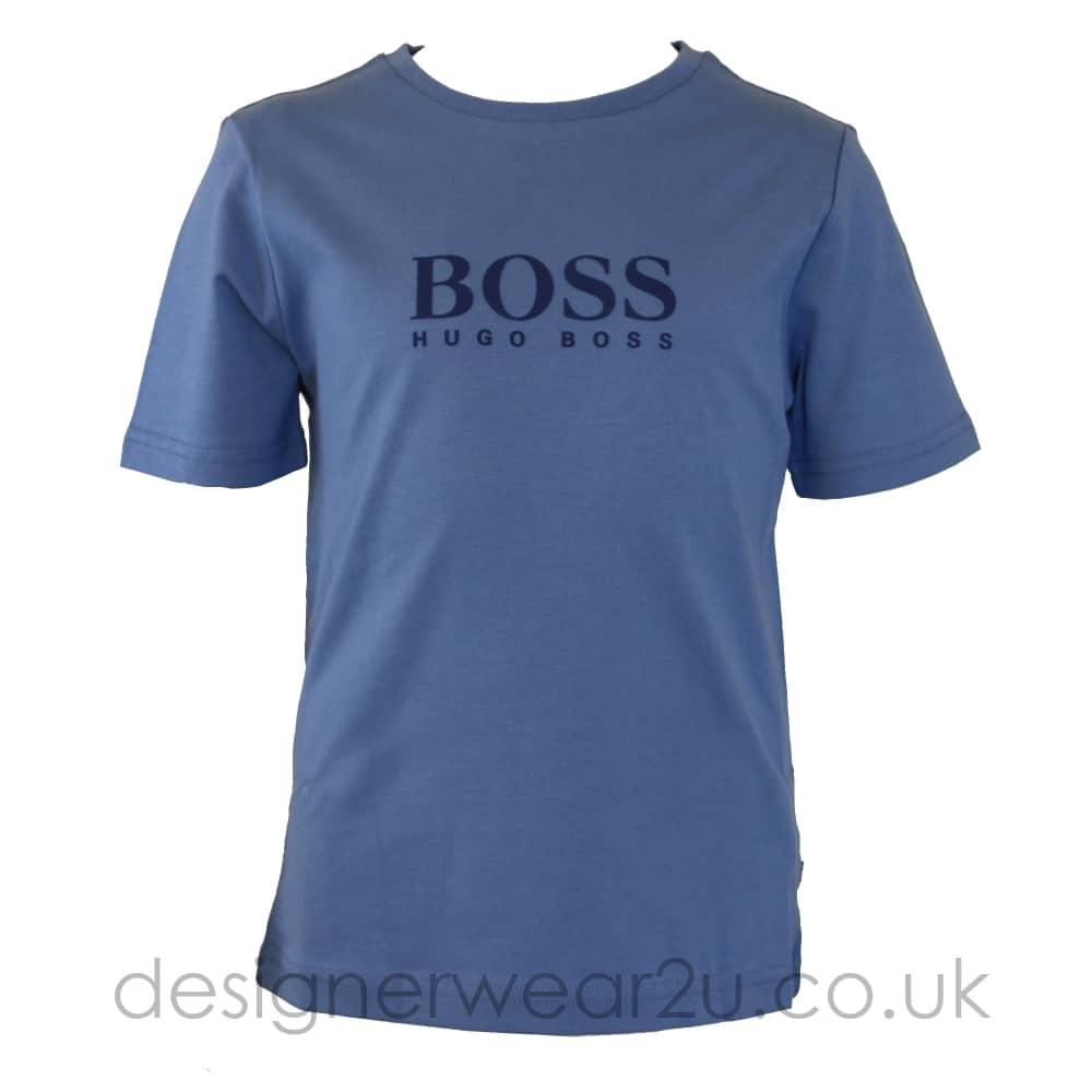 859bc48d284b Hugo Boss Junior Hugo Boss Kids Print Logo T-Shirt in Sky - Kids ...