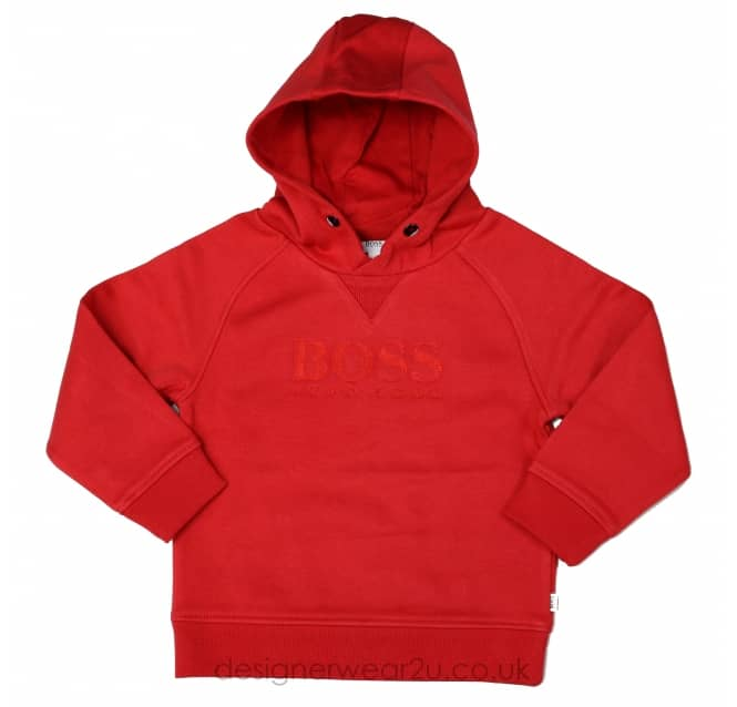 Hugo Boss Junior Hugo Boss Kids Red Hooded Sweater