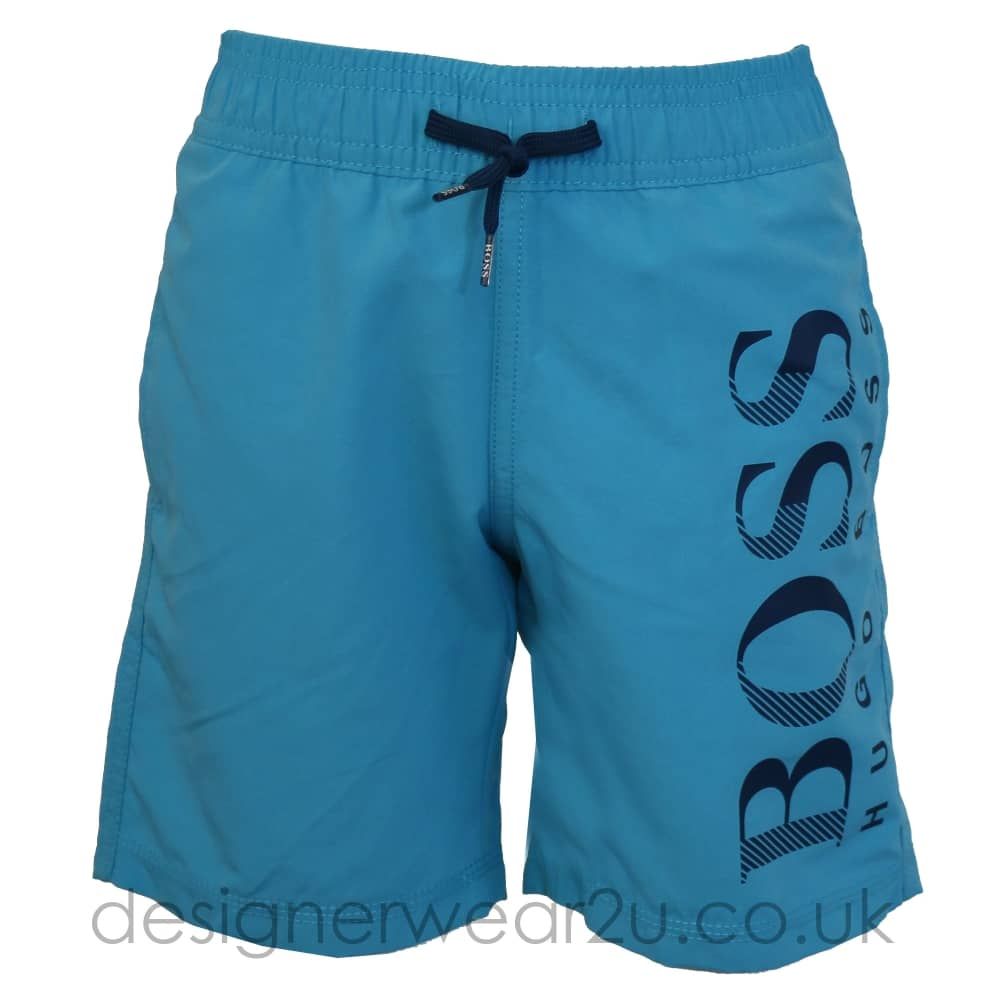 3264d0cb6ca4 Hugo Boss Junior Hugo Boss Kids Swim Shorts with Large Logo in Sky - Kids  Collection from DesignerWear2U UK