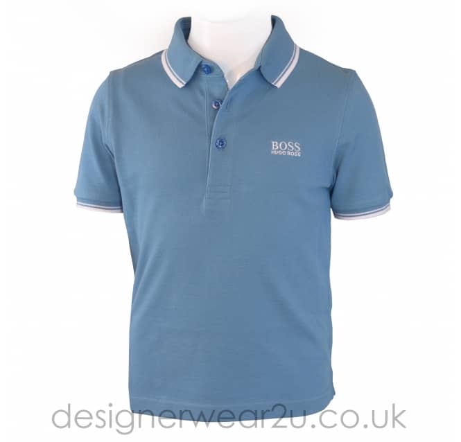 Hugo Boss Junior Hugo Boss Kids Trimmed Polo Shirt in Sky Blue