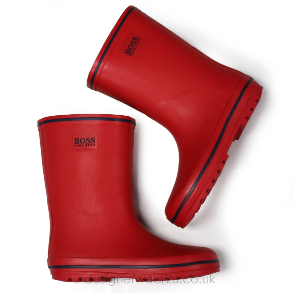 united kingdom great discount for new season Hugo Boss Junior Hugo Boss Kids Wellie Boots in Red