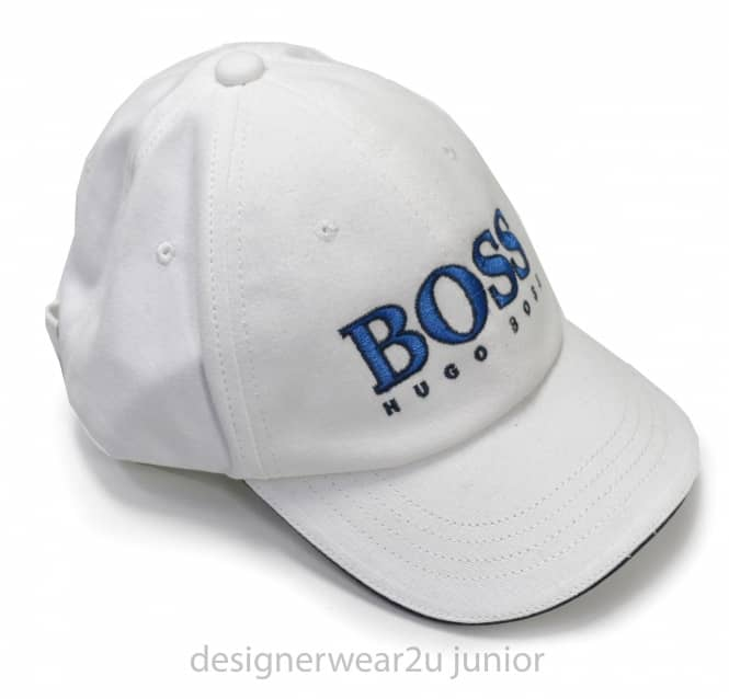Hugo Boss Junior Hugo Boss Kids White Cap With Embroidered Logo