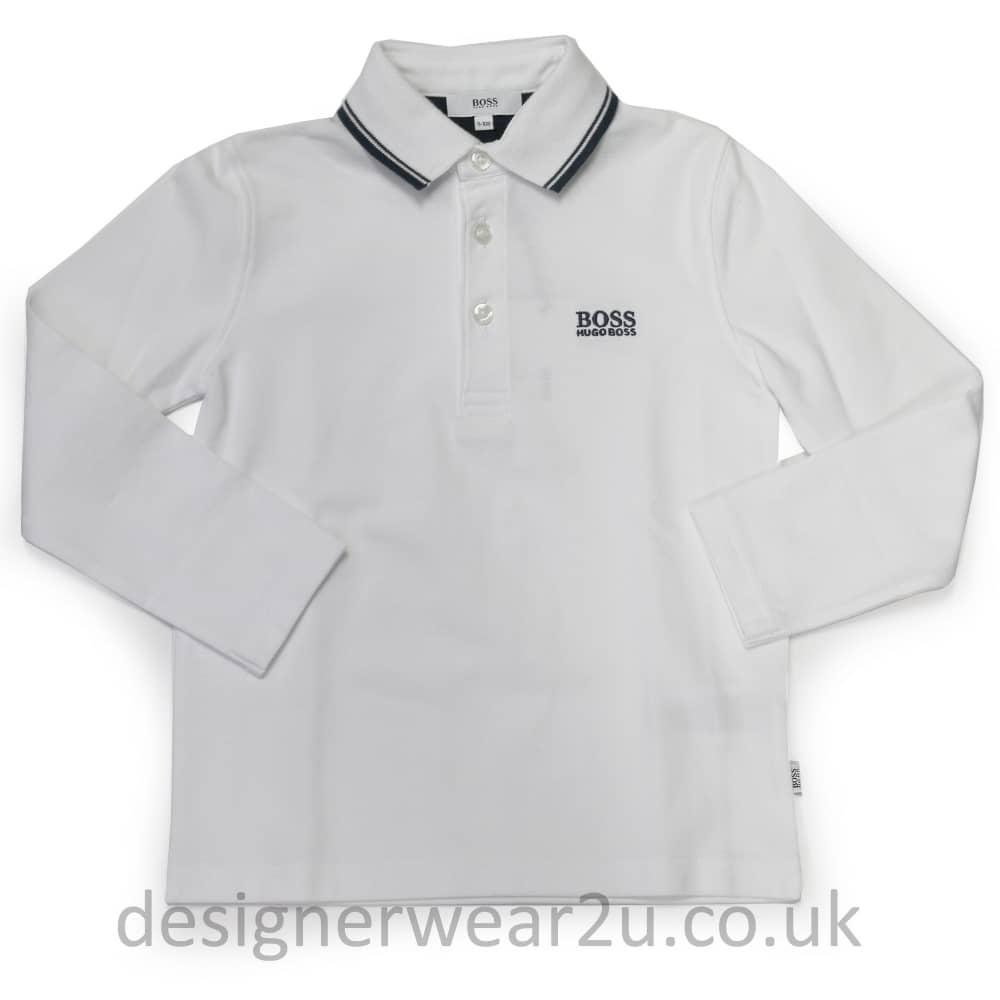 b615fe67d270 Hugo Boss Junior Hugo Boss Kids White Long Sleeved Polo - Kids Collection  from DesignerWear2U UK