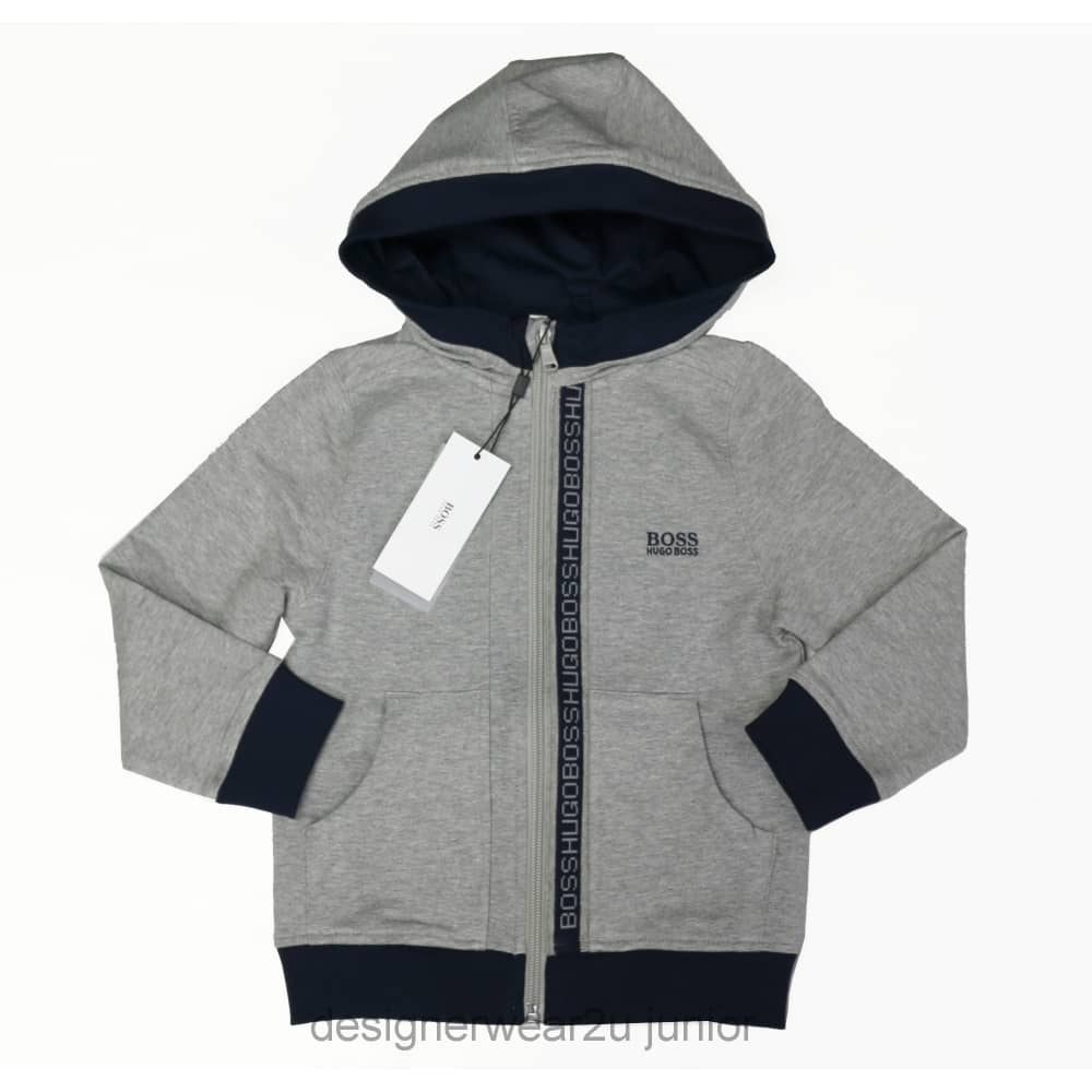 1839cfa27 Hugo Boss Junior Kids Hugo Boss Hooded Sweatshirt in Grey - Kids ...