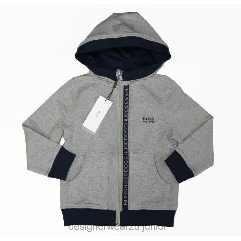 7c5439d3e Hugo Boss Junior Kids Hugo Boss Hooded Sweatshirt in Grey - Kids ...