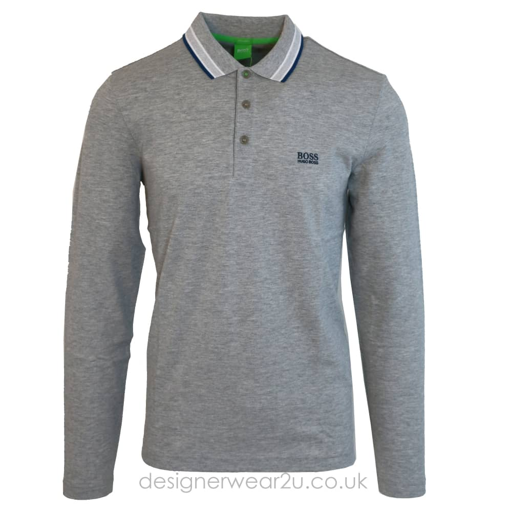Hugo Boss Long Sleeve Polo Shirt in Grey - Polo Shirts from ... 21e9fc200