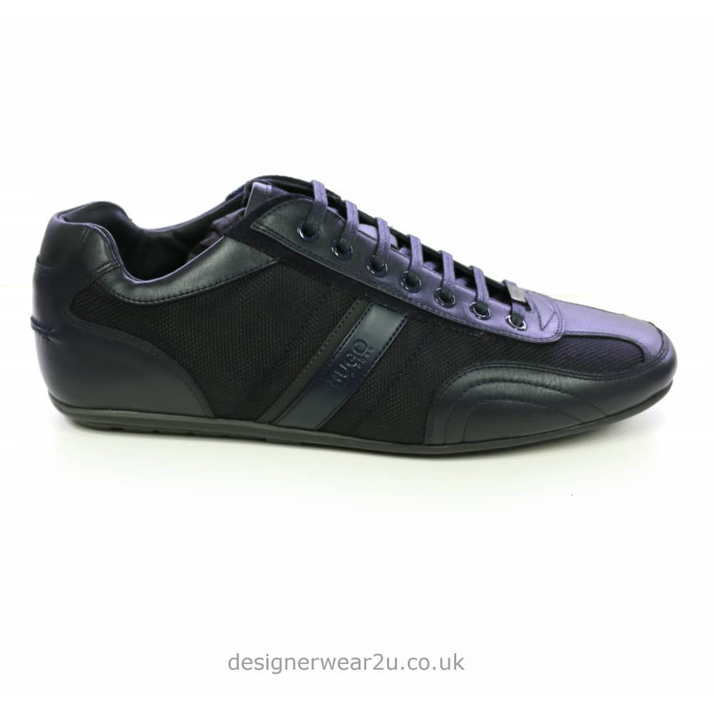 bright in luster later various kinds of Hugo Boss Hugo Boss Navy Leather & Fabric Mix Thatoz Trainers
