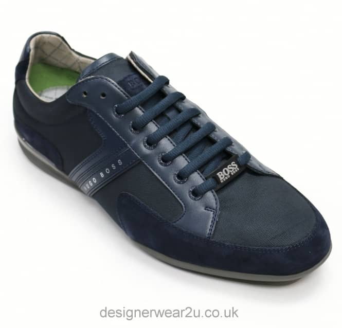 Hugo Boss Hugo Boss Navy Leather & Suede Mix Spacit Trainers