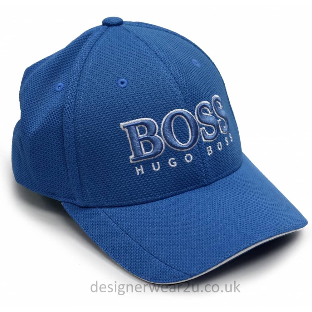 Hugo Boss Open Blue Baseball Cap With Large Embroidered Logo ... fb6e19bb8fd