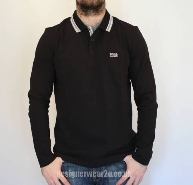 4319eb12 Hugo Boss Plisy Black Long Sleeved Polo Shirt - Polo Shirts from ...