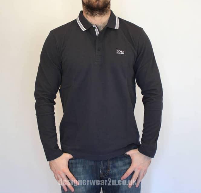 Hugo Boss Plisy Navy Long Sleeved Polo Shirt