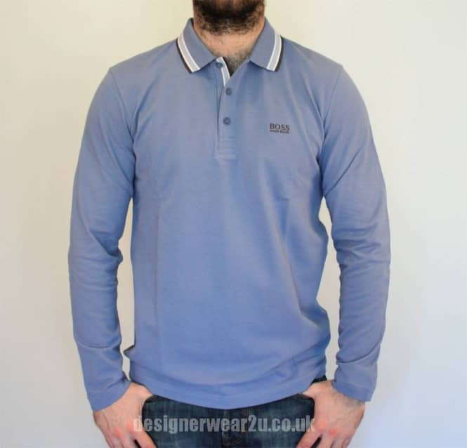 ea3ef205 Hugo Boss Plisy Open Blue Long Sleeved Polo Shirt - Polo Shirts from ...