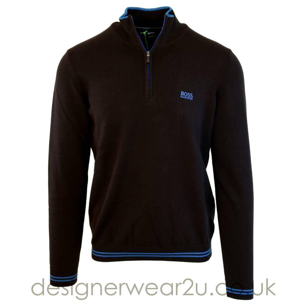 ebeba67d98 Hugo Boss Quarter Zipper Knitted Sweater in Black - Sweatshirts from ...
