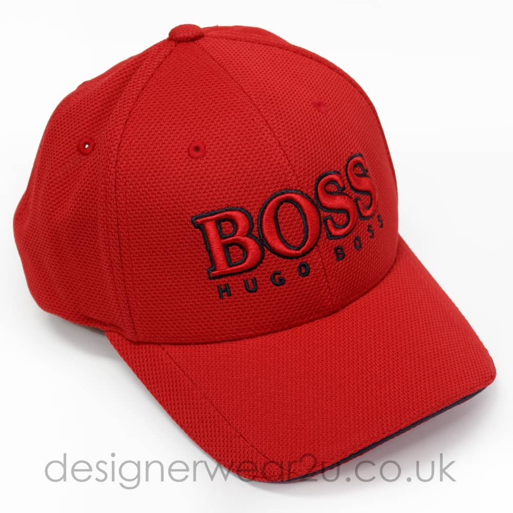 Hugo Boss Red Baseball Cap With Large Embroidered Logo - Hats from ... d15cb324243