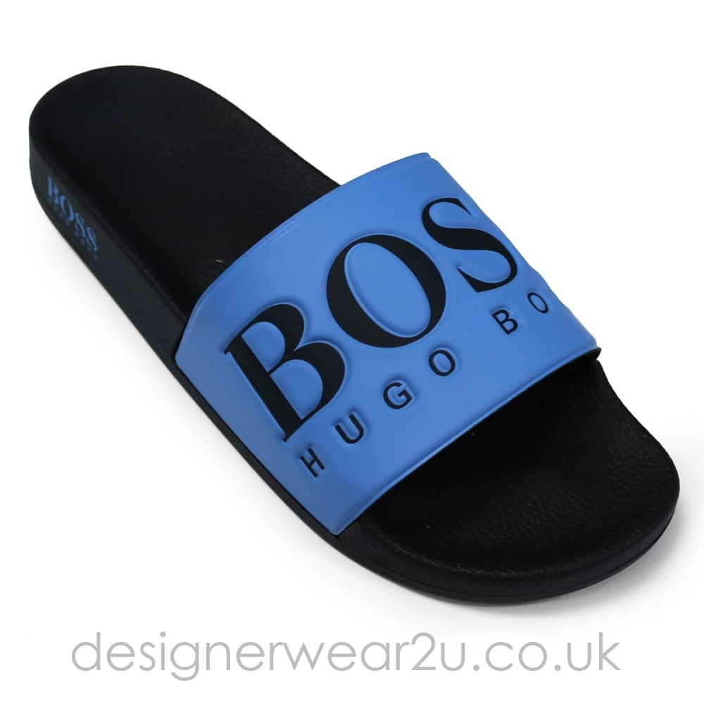 1119b91fbcc54 Hugo Boss Slider Style Sandals in Blue & Navy - Shorts And Swimwear ...