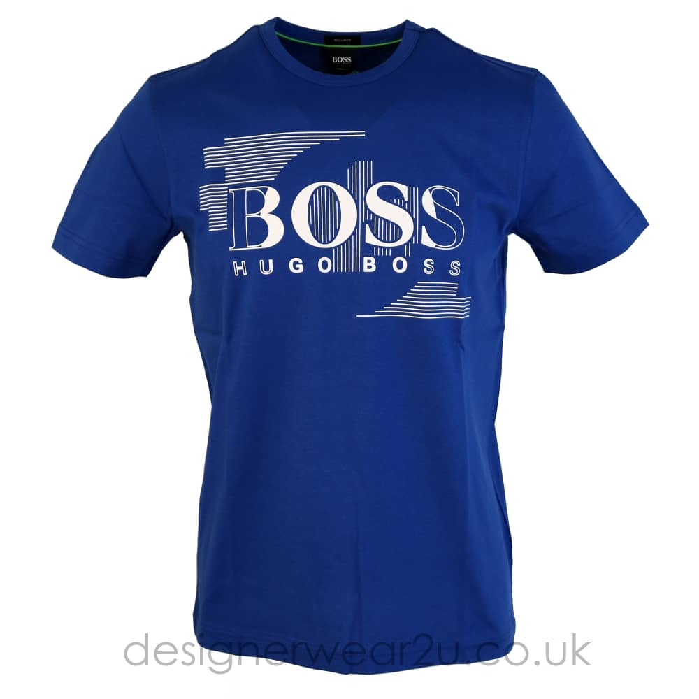 3356ea707 Hugo Boss Tee 1 Blue T-Shirt With Logo - Holiday Shop from ...