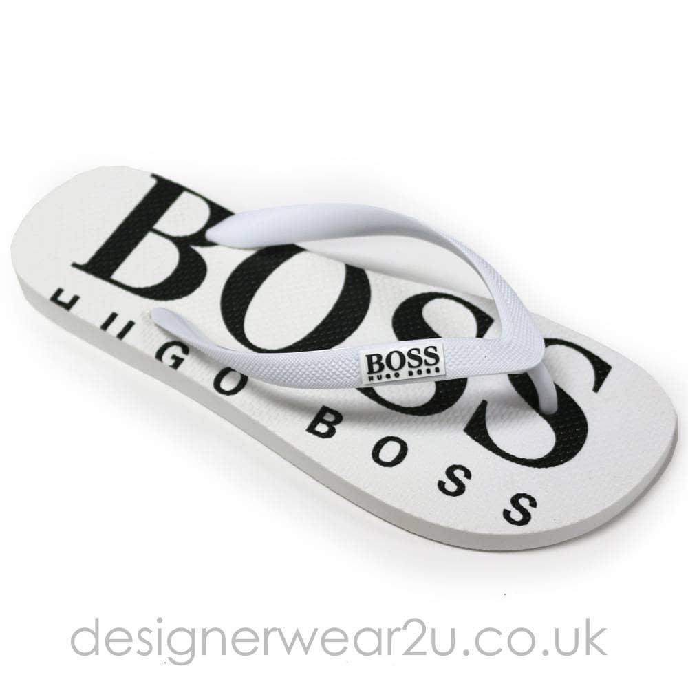 Hugo Boss White Flip Flops with Logo