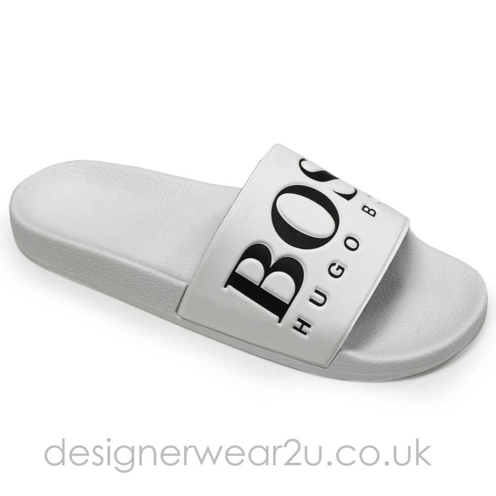 Hugo Boss White Sliders with Contrast