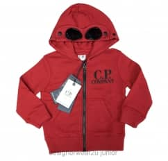 Kids CP Company Goggle Hooded Sweatshirt in Wine
