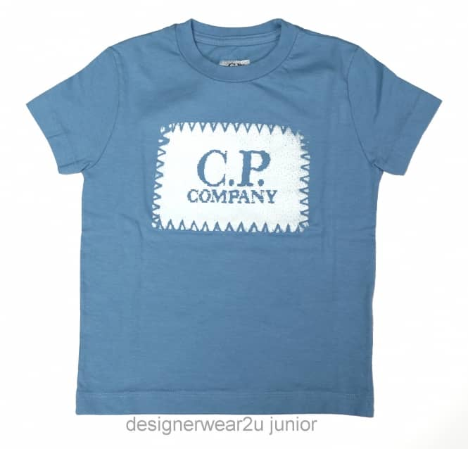 Kids Collection Kids CP Company Patch Print T-Shirt in Sky