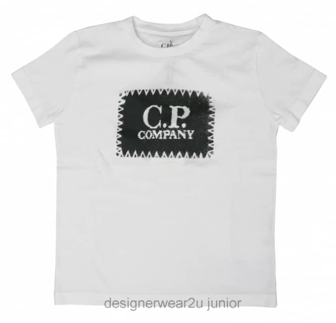 Kids Collection Kids CP Company Patch Print T-Shirt in White