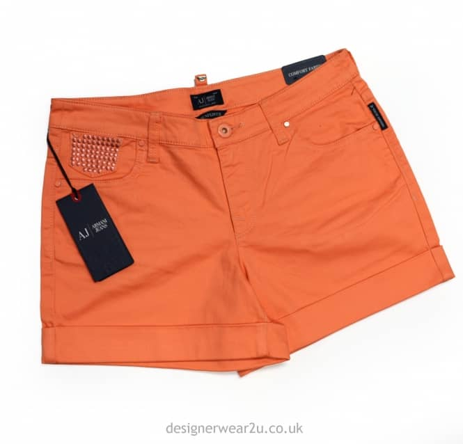 Outlet Armani Jeans Ladies Peach Shorts With Eagle Logo - Regular Fit