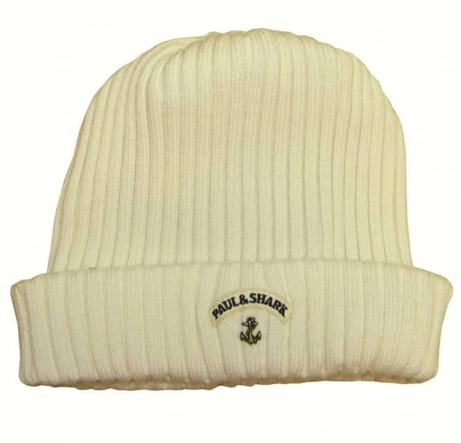 Paul   Shark Paul and Shark Cream Ribbed Wool Beanie Hat - Gift ... 07f71d4be82